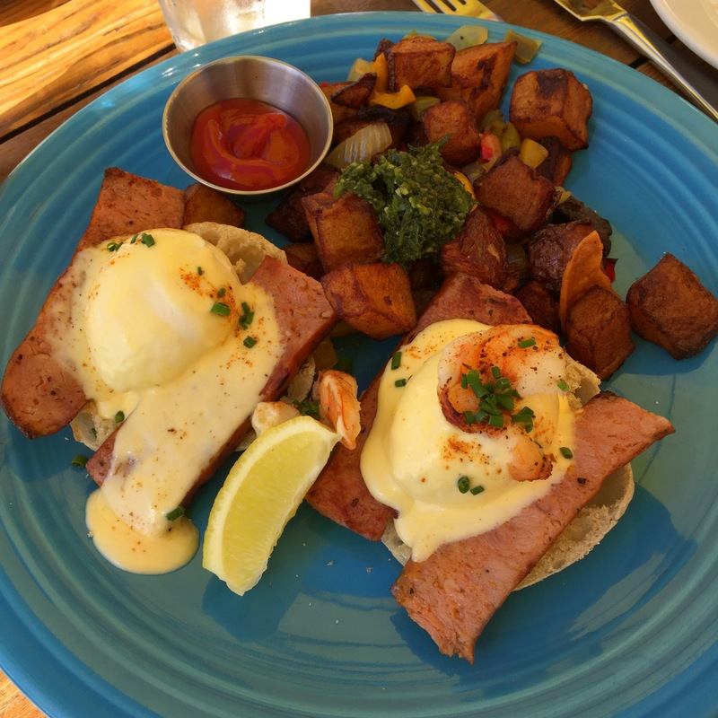 Cajun Benedict (with Andouille sausage and Gulf prawn) - $17