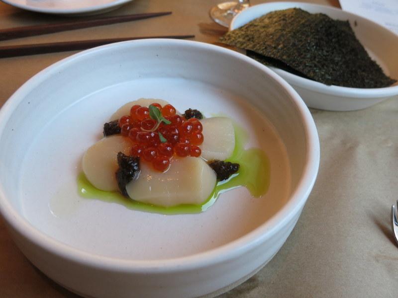 Scallop, Kombu Pickle Puree, House-Cured Salmon Roe, Nori ($14)