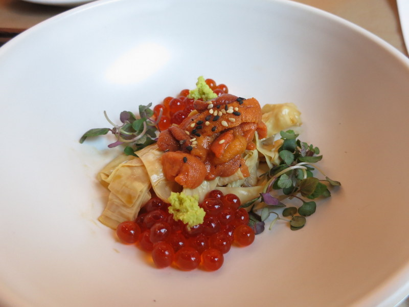 Uni, yuba, cured salmon roe, house seasoned tamari ($24)